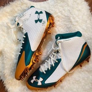 Under Armour White green and orange cleats 15